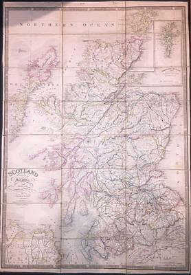 """1838 Original Antique Folding Map """"SCOTLAND WITH ITS ISLANDS"""" by James Wyld"""