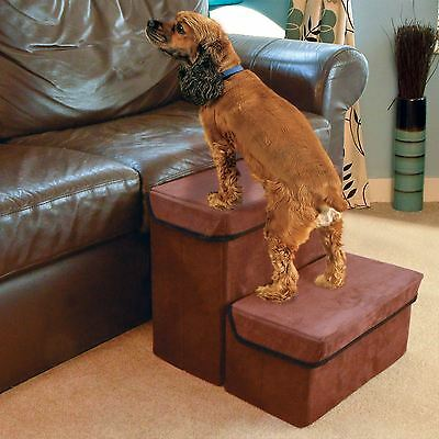 Pet Steps Folding Dog Cat Ladder Stairs Two Storage Compartments Boxes