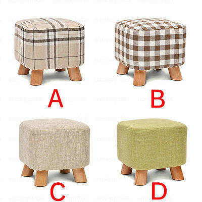 Footstool Footrest Ottoman Pouffe Stool Chair Tabouret Removable Linen Cover