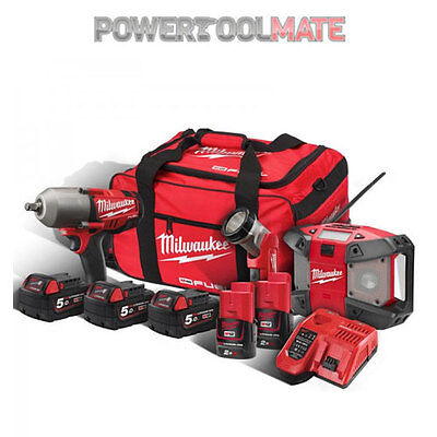 Milwaukee M18FPP3B-525B Fuel 3pc Kit with 18V Impact Wrench, 12V Torch & Radio