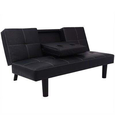 Black Leather Sofa Bed 3 Seater Lounge Suite Couch Reclining Drop-Down Table