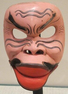 Antique Wooden Hand Carved Scary Mask Hinged Jaw