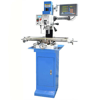PM-25-MV VERTICAL BENCH TOP MILLING MACHINE w/ 3 AXIS DRO INSTALLED AND STAND