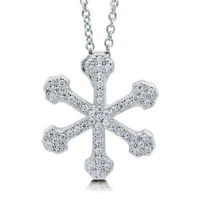BERRICLE Sterling Silver Cubic Zirconia CZ Snowflake Fashion Pendant Necklace