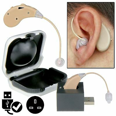 Rechargeable Sound Voice Amplifier Behind The Ear Aids Hard Of Hearing USB Mains