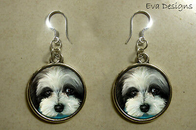 Havanese Dog Blue Art Pet Gift Jewelry Sterling Silver Hooks Charm Earrings