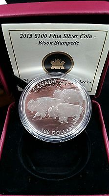 2013 Canada ~ $100 Bison Stampede .999 Fine Silver In Case With Coa