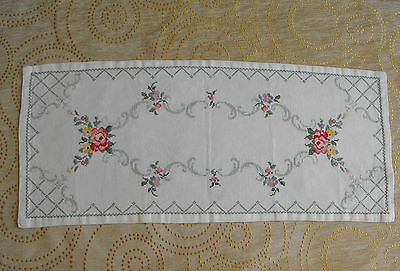 vintage cross-stitch hand-embroidered table runner