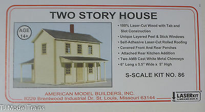 """American Model Builders, Inc S #86 Two-Story House -- 6 x 5-1/2 x 5""""  (Laser Kit"""