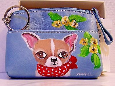 hand painted   Chihuahua dog portrait genuine leather coin purse ID holder
