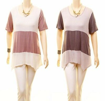 332a5a53abe PLUS Size Gray Dusty Sharkbite Hem Color Block Peasant Tunic Shirt Top 1X  2X 3X