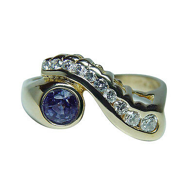 Van Cleef & Arpels VCA Tanzanite Diamond 14K Gold Ring Designer Signed Estate