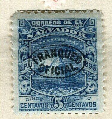 EL SALVADOR;   1896 early classic Official issue Mint hinged 5c. value