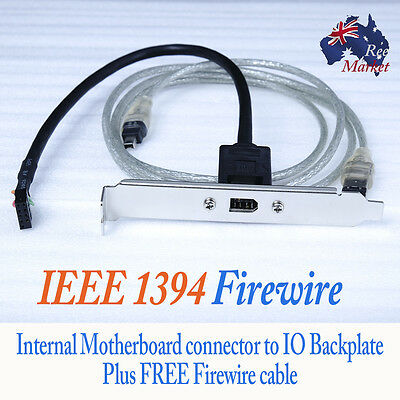 IEEE1394 Firewire Internal - IO Backplate to Motherboard with Firewire Cable