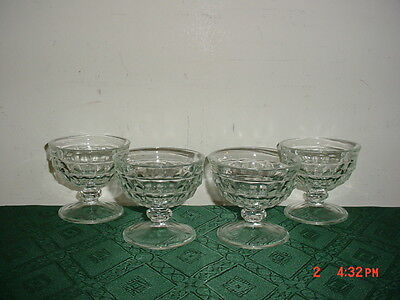 """4-Piece Indiana Clear Glass """"cube"""" 3 1/2"""" Pudding-Serving Glasses/clearance!"""