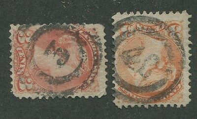 """Canada #37 Used Small Queen 2-Ring Numerals Cancel """"3"""", """"40"""""""