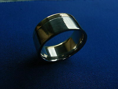 RARE Heavy Wide solid White & Yellow Gold band ring 18 K ct carat 20mm, U, 14 g