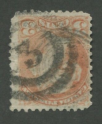 """Canada #37 Used Small Queen 2-Ring Numeral Cancel """"3"""""""