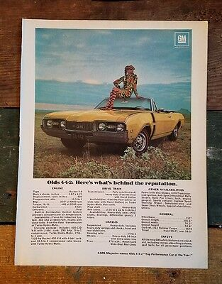 1968 Olds 442 4-4-2 Convertible yellow oldsmobile color photo vintage print Ad