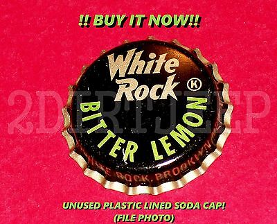 RARE RARE WHITE ROCK BITTER LEMON SODA OLD POP BUY NOW P/L UNUSED BOTTLE CAP 30d