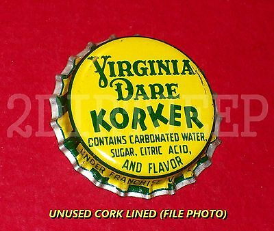 "VIRGINIA DARE ""KORKER"" DRINK SODA VINTAGE POP BUY NOW CORK UNUSED BOTTLE CAP 30d"