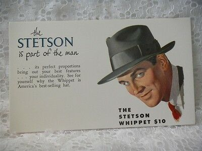 The Stetson Whippet $10 Hat Advertising Ink Blotter Great Graphics Unused