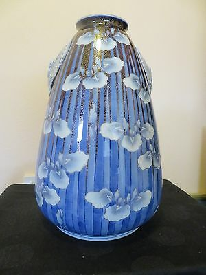 Antique Japanese Fukagawa Porcelain Vase Almost 15 inches tall Iris Design