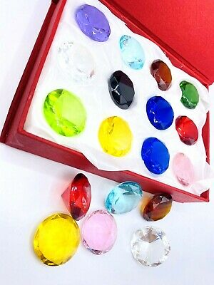 Special Gift (box of 12) Big Glass Diamond Shape Jewelry Paperweight 40mm