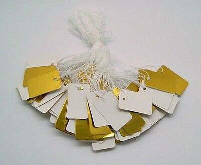 "200 Blank GOLD + WHITE JEWELRY Price TAGS 1"" x 1/2""  w/ String Sturdy Card Stock"