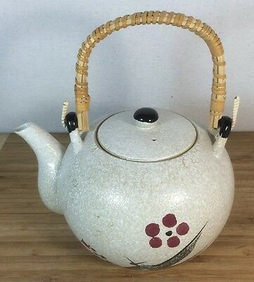 Vintage Seasoned Clay Teapot Cherry Blossom Speckled White Glaze Tea Pot Rattan