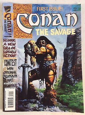 CONAN THE SAVAGE #1 1995 MARVEL MAGAZINE Hounds Slaughter Alcatena Conrad Bisley