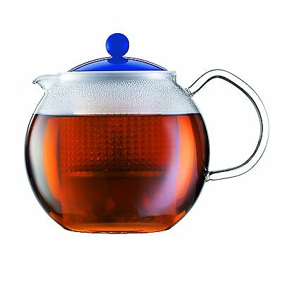 Bodum Assam Glass Tea Press Pot Blue Lid 1 Litre 34oz