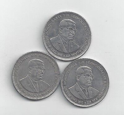 3 DIFFERENT 1 RUPEE COINS from MAURITIUS (1997, 2004 & 2005)
