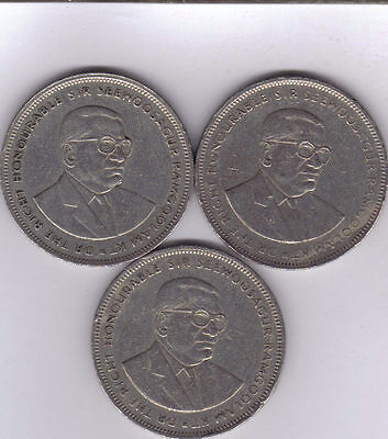 3 DIFFERENT 5 RUPEE COINS from MAURITIUS (1987, 1991 & 1992)