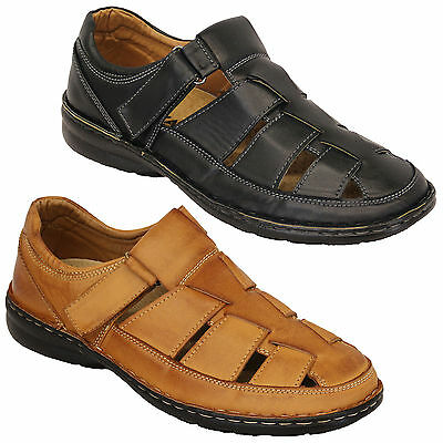 Mens Sandals Leather Shoes Walking Outdoor Beach Strap Closed Toe Holiday Summer