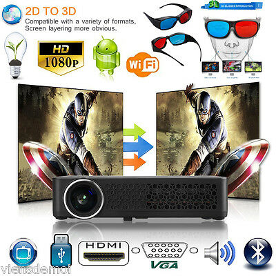 3D Proyector+ 3Xgafas 6000 ANSI lm 1080p Android HDMI PROJECTOR BLUETOOTH  WIFI