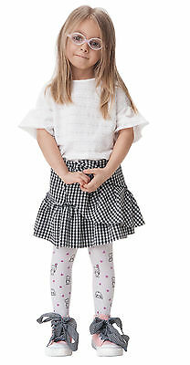 Teddy Patterned KidsTights White  2 - 8 Years Old by Knittex
