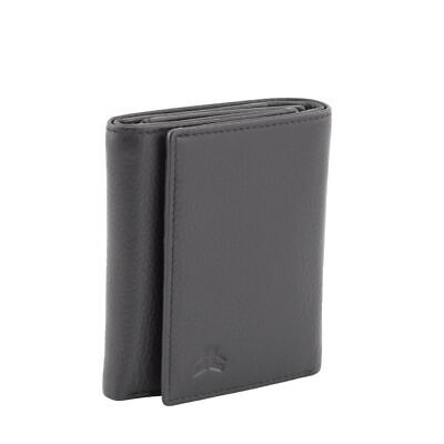 Men's Genuine Soft Leather RFID Protected 14 Cards tri-fold Wallet New Black