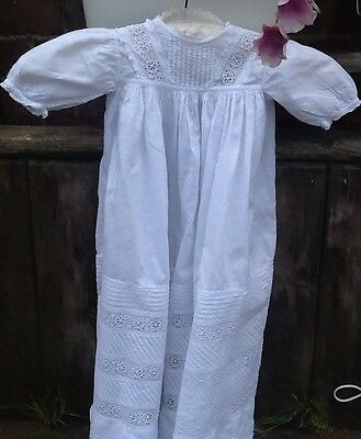 Antique Hand Embroidered Lace Baby Christening Gown Broderie Anglaise Baby Doll