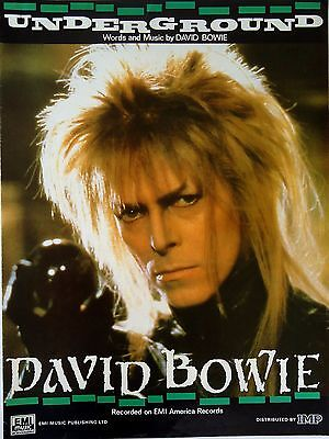 David Bowie-Underground-1986 Sheet Music-Original UK issue-Labyrinth-Rare!