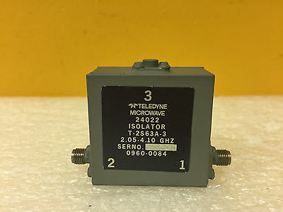 Teledyne T-2S63A-3 (0960-0084) 2.05 to 4.10 GHz, 20 dB, SMA, Microwave Isolator.