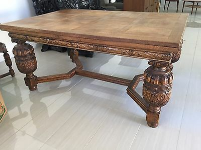 Antique Spanish Dining Table 8 Chairs & Sideboard Solid Oak - Expands to seat 10