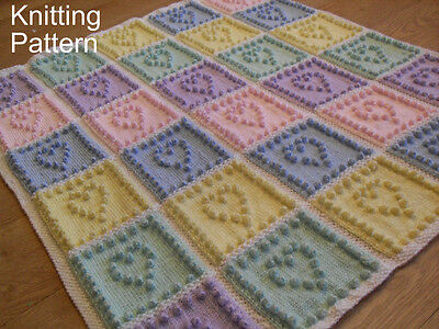 KNITTING PATTERN Baby Blanket - Heart Squares Bobble - Plain & Intarsia