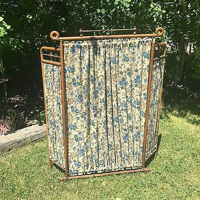 Antique Victorian Stick And Ball Fireplace Screen Cover 1800s