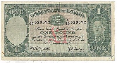 1942 Commonwealth of Australia £1 One Pound Note # 26B