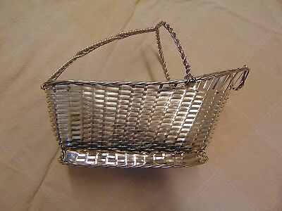 New, Vintage French Christofle Woven Wine Bottle~Basket Marked, Silver Plate