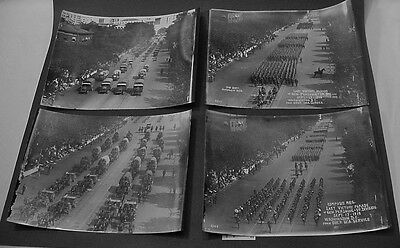 4 Black White Photos WWI General Pershing 1st Division Last Victory Parade 1919