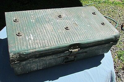 Original antique vintage Metal Steamer Trunk suitcase shabby chic sheek