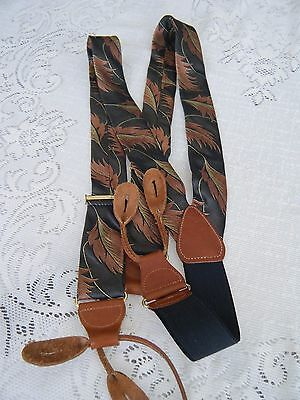 Men's Suspenders Designed Silk Fabric Made In Cas Germany With Brownleather