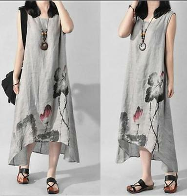 Womens Rtro Chinese Floral Maxi Full Length Loose Linen Tunic Sundress Dress G